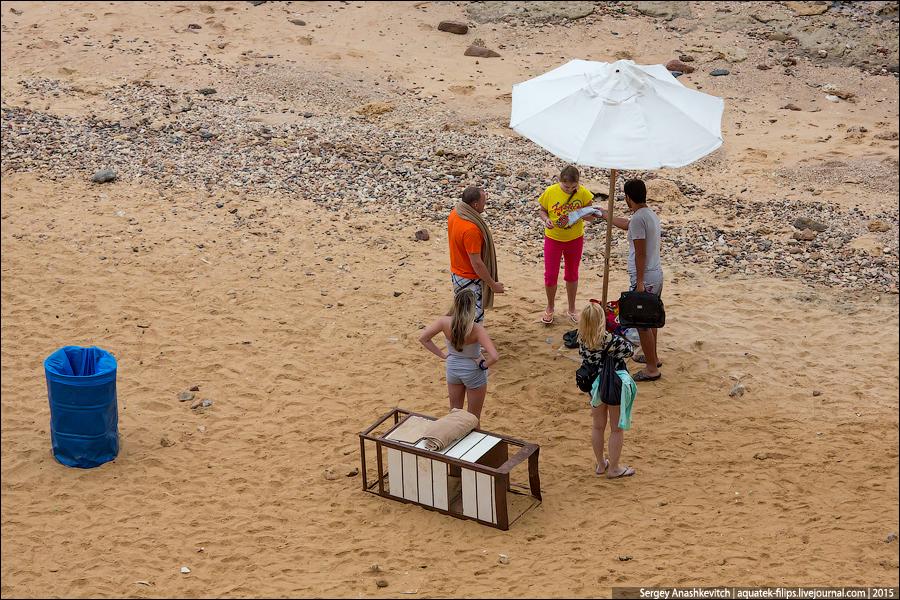 Пляж за колючей проволокой