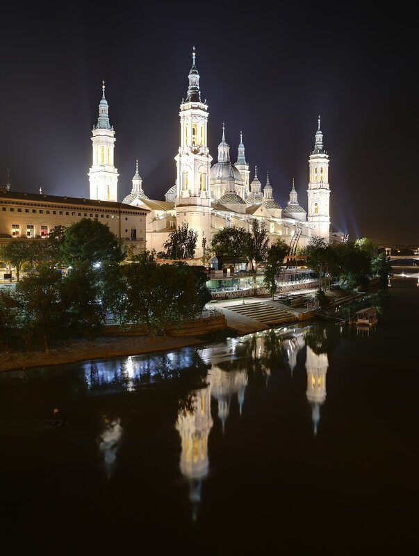 Zaragoza. The Cathedral of the virgin Pilar at night. View from the Stone bridge.