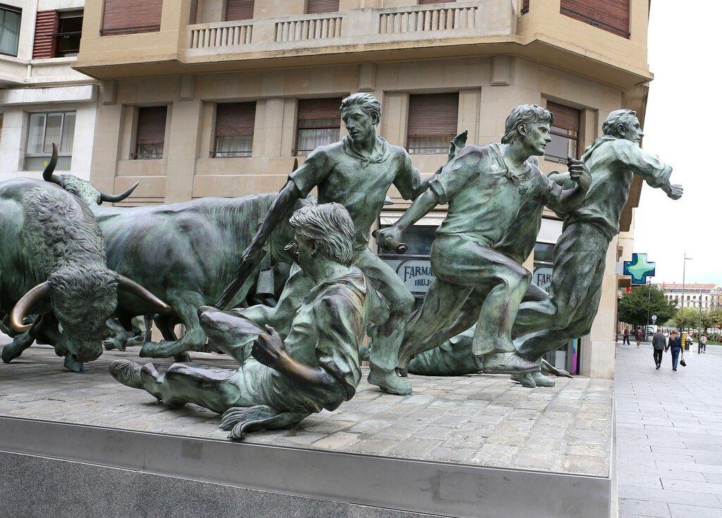 Pamplona. The running of the bulls monument (Monumento al Encierro)