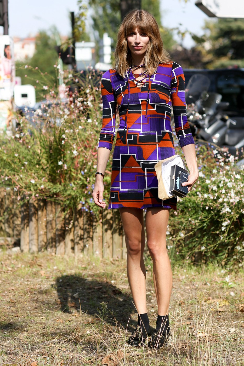 платья с геометрическим принтом, уличная мода Парижа 2015