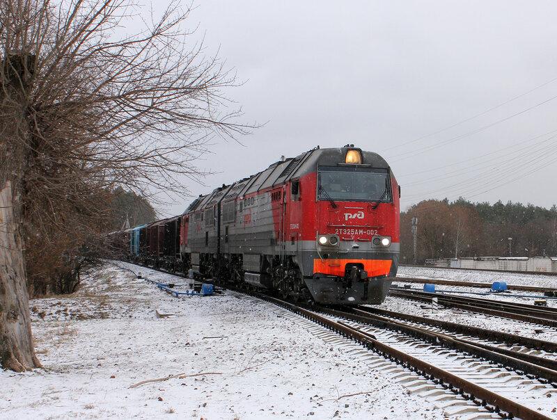 2ТЭ25АМ-002 на станции Новобелицкая
