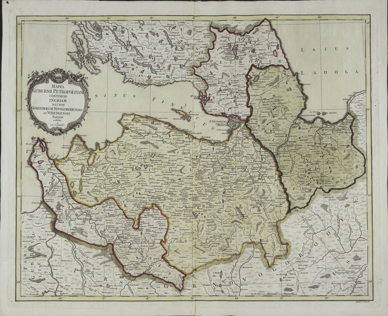 1750. Карта Санкт-Петербургской губернии с частями Выборгской и Новгородской губерний