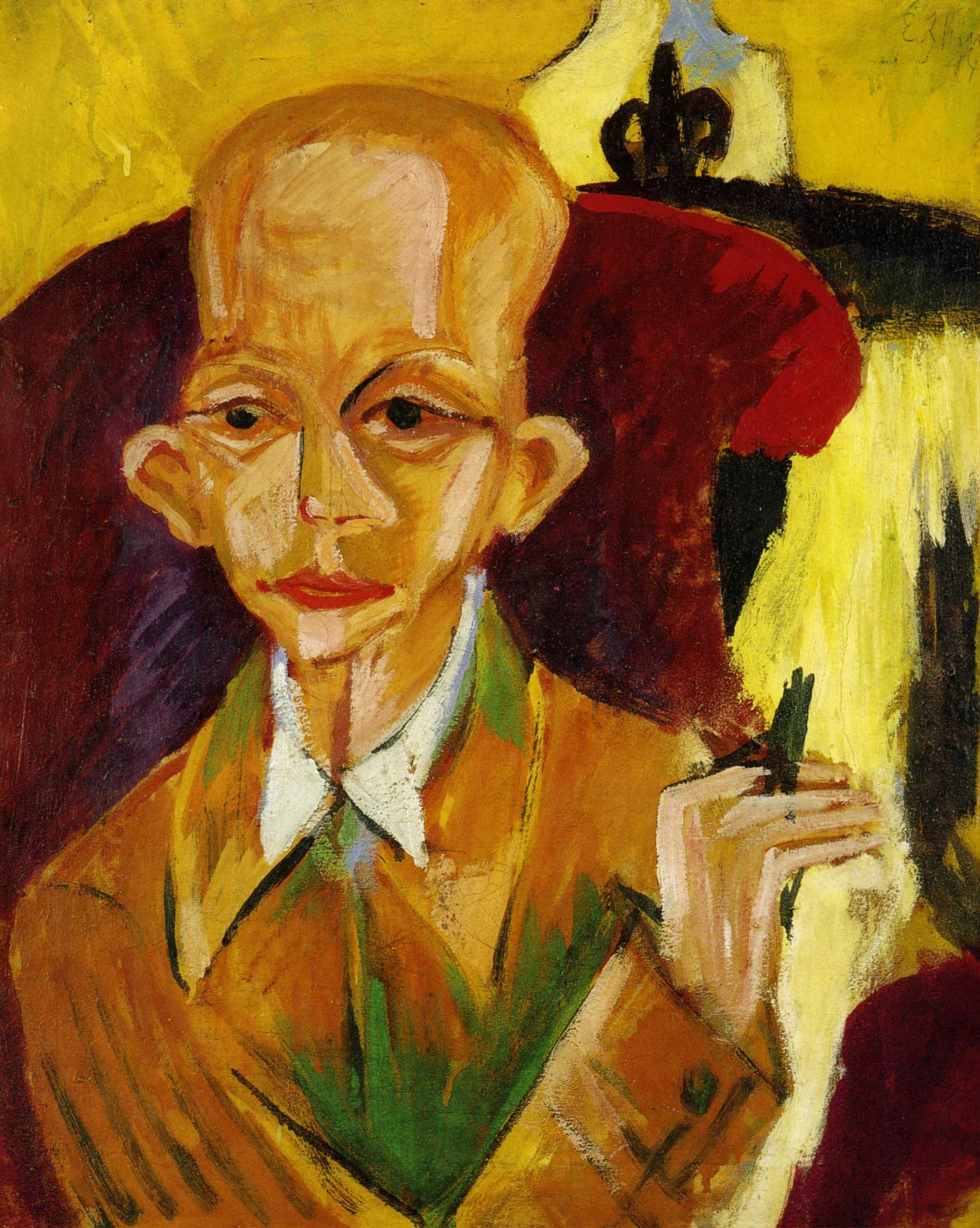 Эрнст Людвиг Кирхнер (1880 — 1938) — немецкий художник, график и скульптор, представитель экспрессионизма. 1914. «Портрет Оскара Шлиммера»