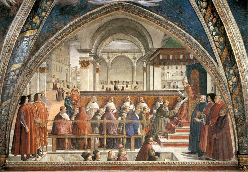 009-Иннокентий III утверждает устав св.Франциска (Гирландайо).jpg