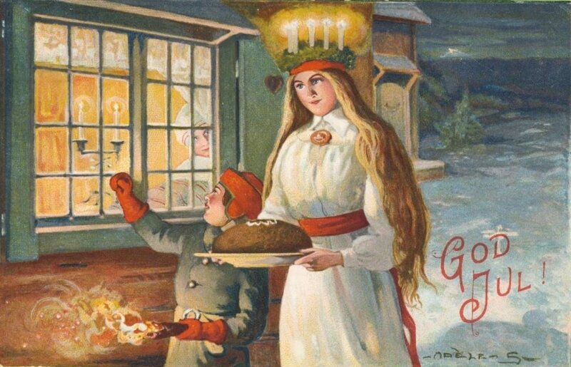Christmas season card with Lucia in the snow.