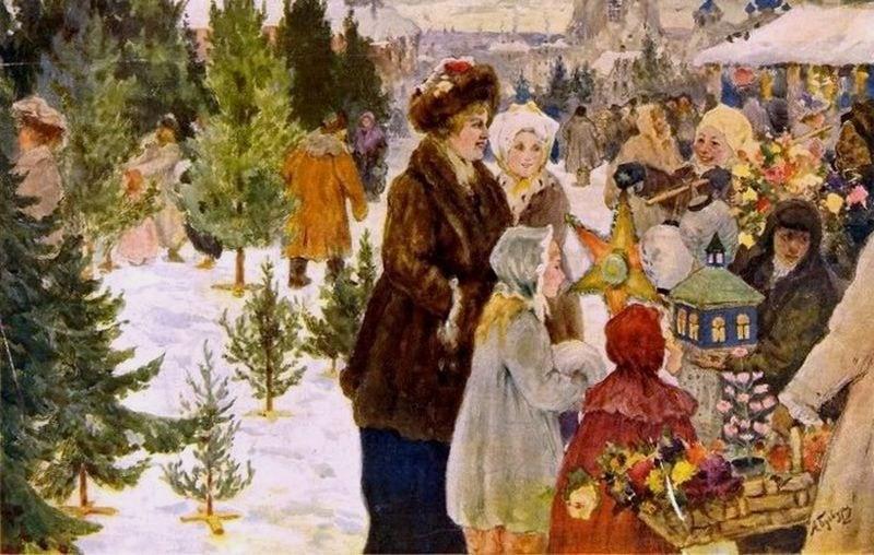 Александр Алексеевич Бучкури - Рождественский базар, 1906 г.