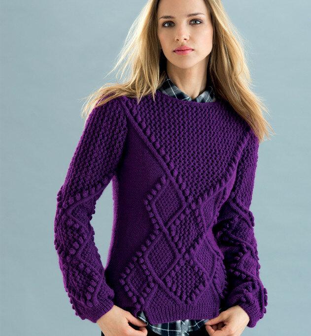 Пурпурный пуловер с шишечками