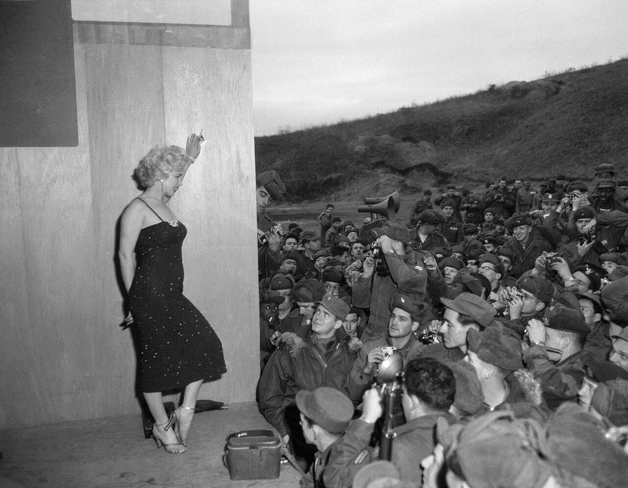 Marilyn Monroe Posing for Soldiers