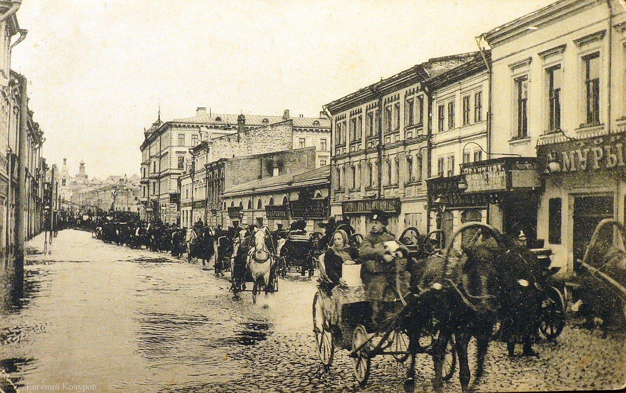 Наводнение 1908. Улица  Балчуг с видом на Зарядье