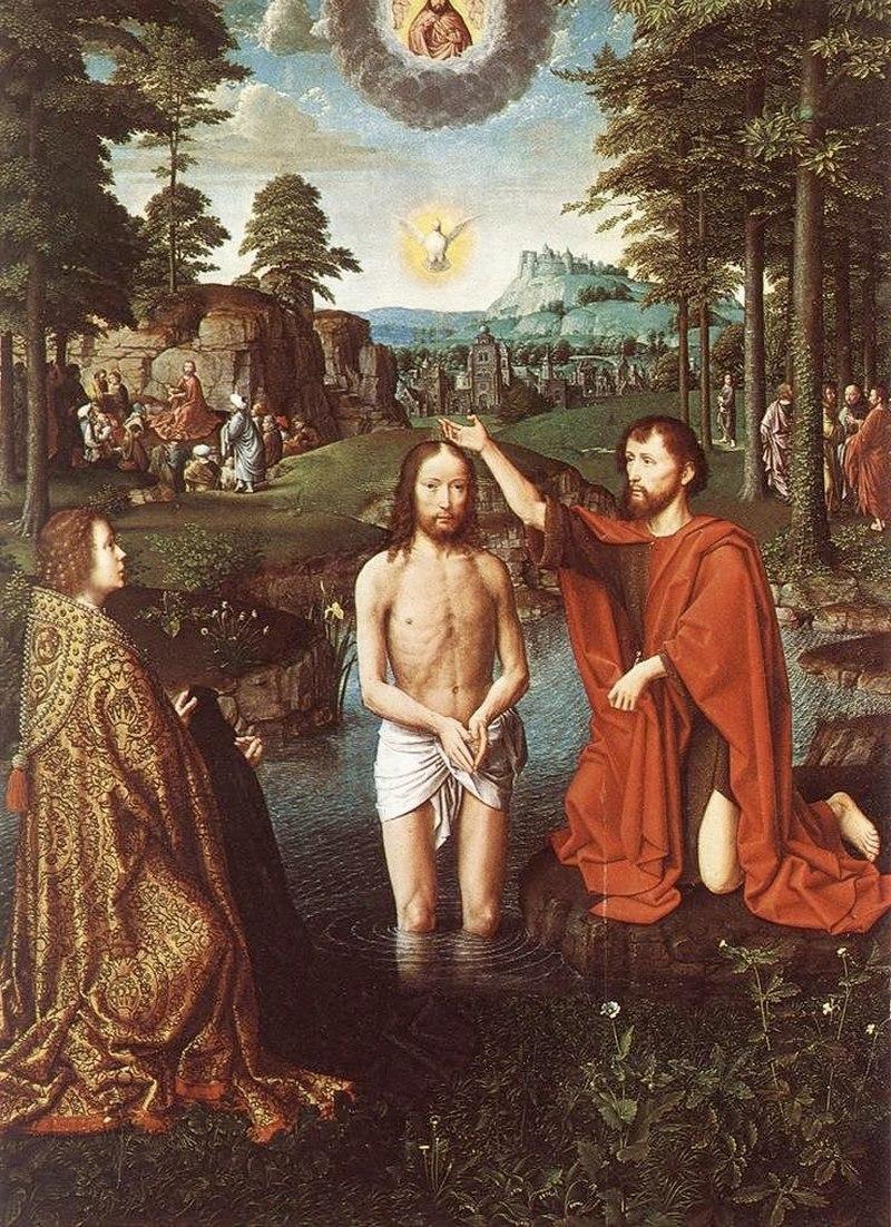 """Жерард Давид. """"Крещение Иисуса"""" 1520 центральная панель"""
