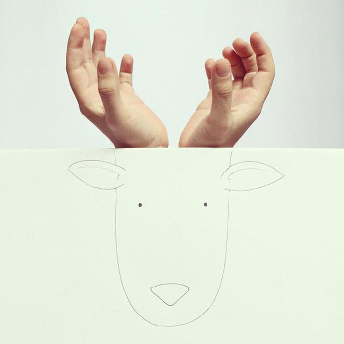 Остроумные рисунки с пальцами на руке (Хавьер Перес)