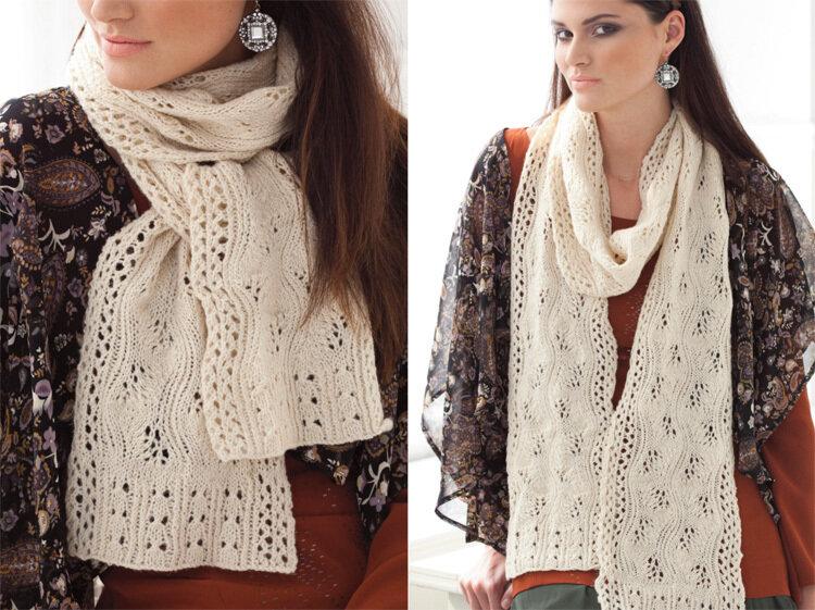 Вязание спицами женских шарфиков