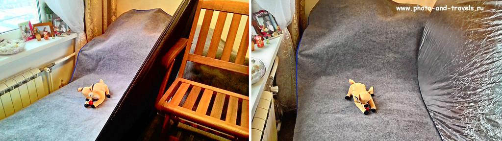 Фото 1. Уроки фотографии. Как сделать фотостудию в квартире. Нужна кровать, плед, отражатель, стул для опоры и окно.