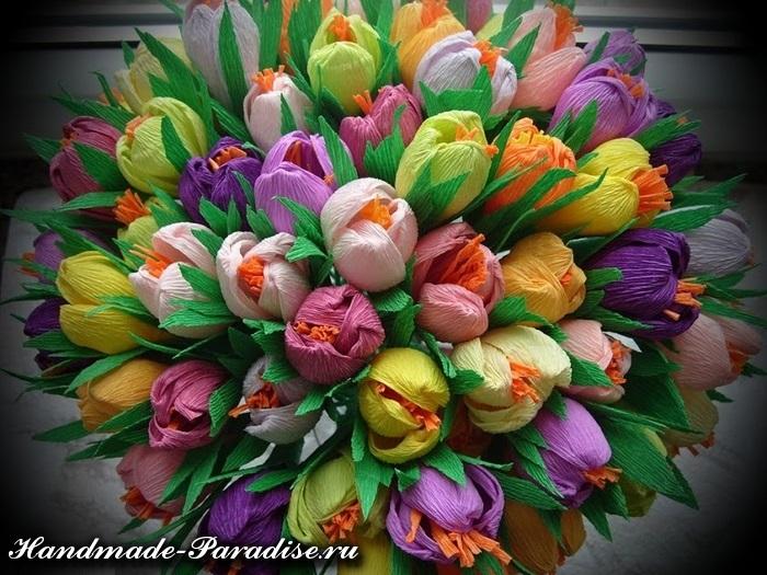 Цветы из гофрированной бумаги своими руками конфет