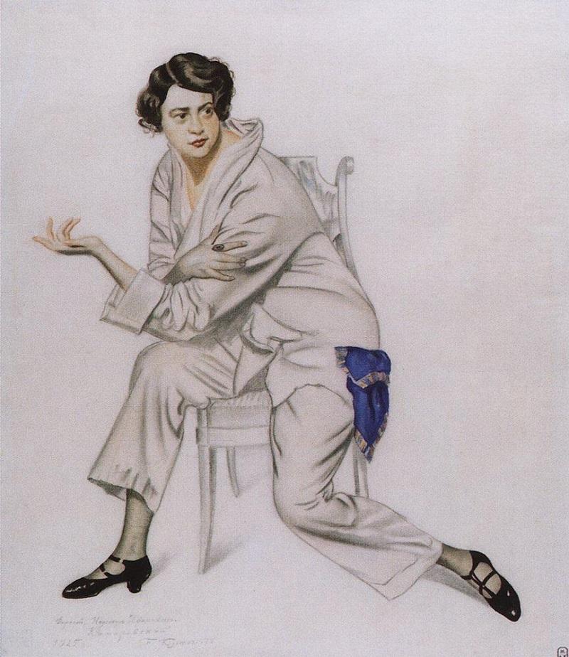 Борис Кустодиев (1878–1927) (Россия) Портрет артистки Надежды Ивановны Комаровской (1925).jpg