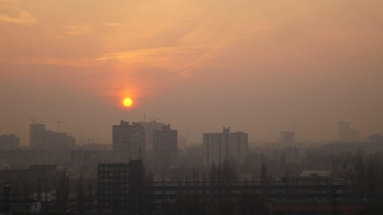 солнце над городом закат