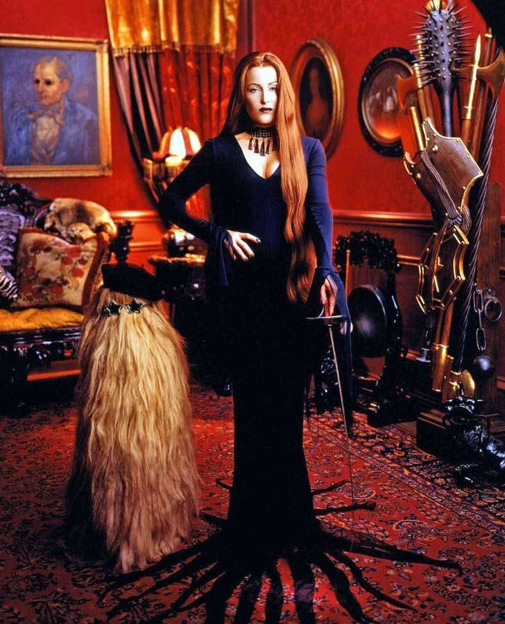 Gillian Anderson as Morticia Addams photographed by Mark Seliger for Us magazine (1997).jpg