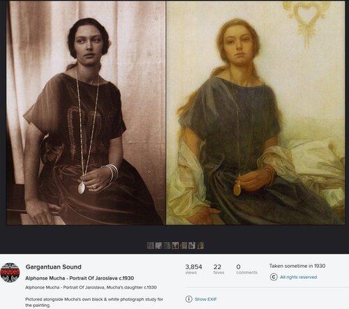 Ярослава Муха, дочь художника (Альфонс Муха), его же фотография дочери и эскиз к портрету, ок 1930 года