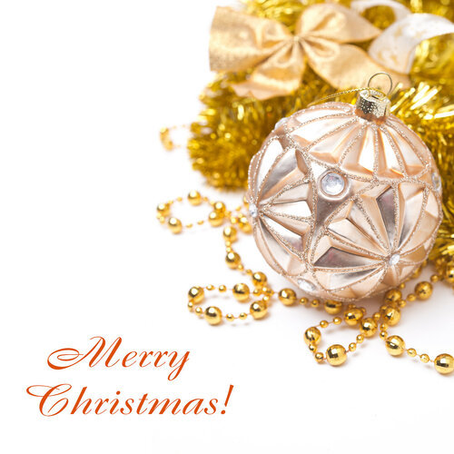 composition with Christmas ball in golden tones, isolated