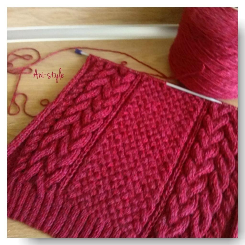 Вязание пуловера из двух цветов пряжи