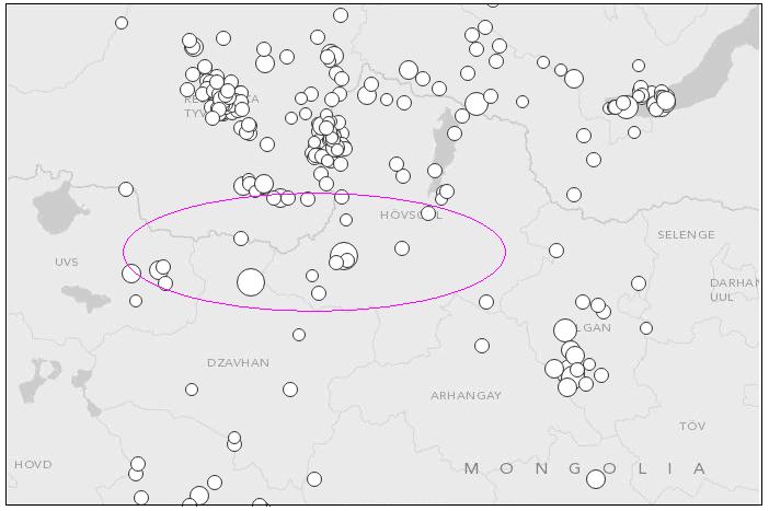 Рис.1. Сейсмологическая обстановка в верховьях Селенги (по данным NEIC)