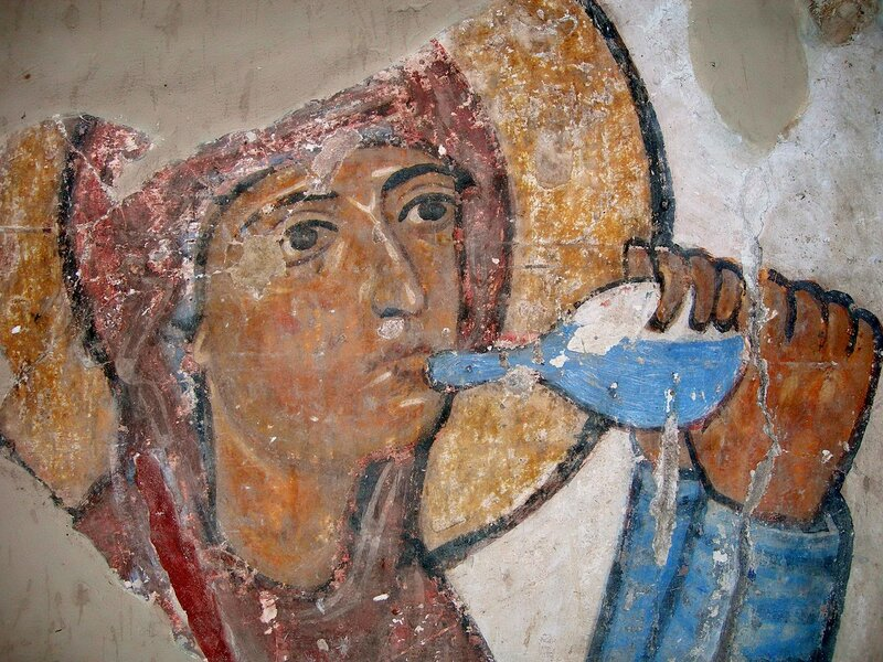 Испытание Богородицы водой обличения. Фреска XI века в храме Атени Сиони, Грузия. Фрагмент.