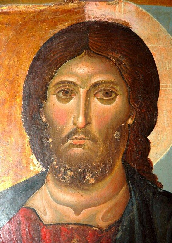 Христос Пантократор. Византийская икона в монастыре Св. Екатерины на Синае. Фрагмент.