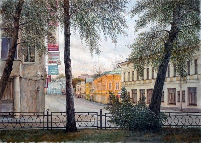 Иван Назаров. Вид со сквера на ул. Покровка. Москва. 2014