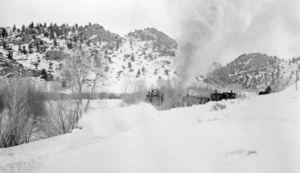 Railroad snowplow and Denver and Rio Grande Western locomotive 268 near Cebolla (Gunnison County), Colorado. March 11 1952