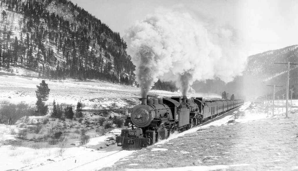 Denver & Salt Lake train, engine number 207, and number 200, near Tolland, Colo., February 26, 1928