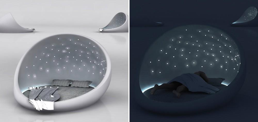 4. Кровать, ты просто космос! Звездное небо над головой для романтической ночи.