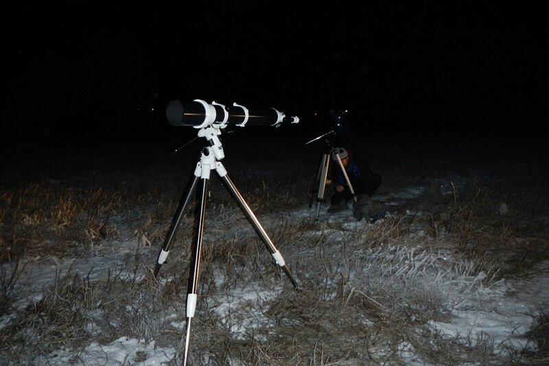 Телескопы на вершине холма 23 ноября 2014 г. в Шалегово (Оричи, Кировская область)