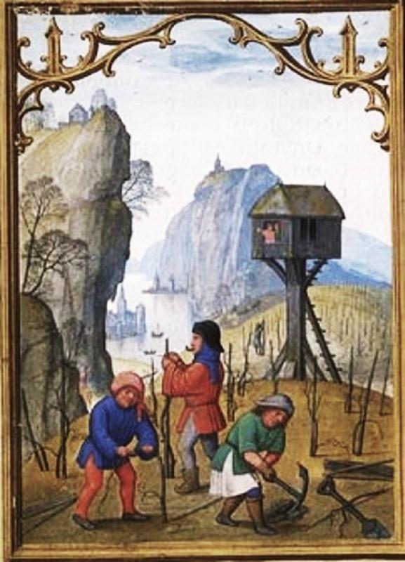 1515 February Da Costa Hours, in Latin Illuminated by Simon Bening (1484–1561) Belgium, Bruges, c Pruning Vines, Breaking Ground.jpg