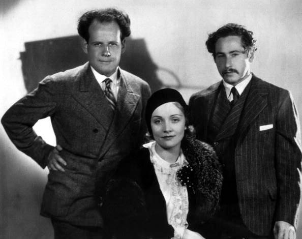 Sergei Eisenstein with Marlene Dietrich and Josef von Sternberg, c. 1930-32.jpg