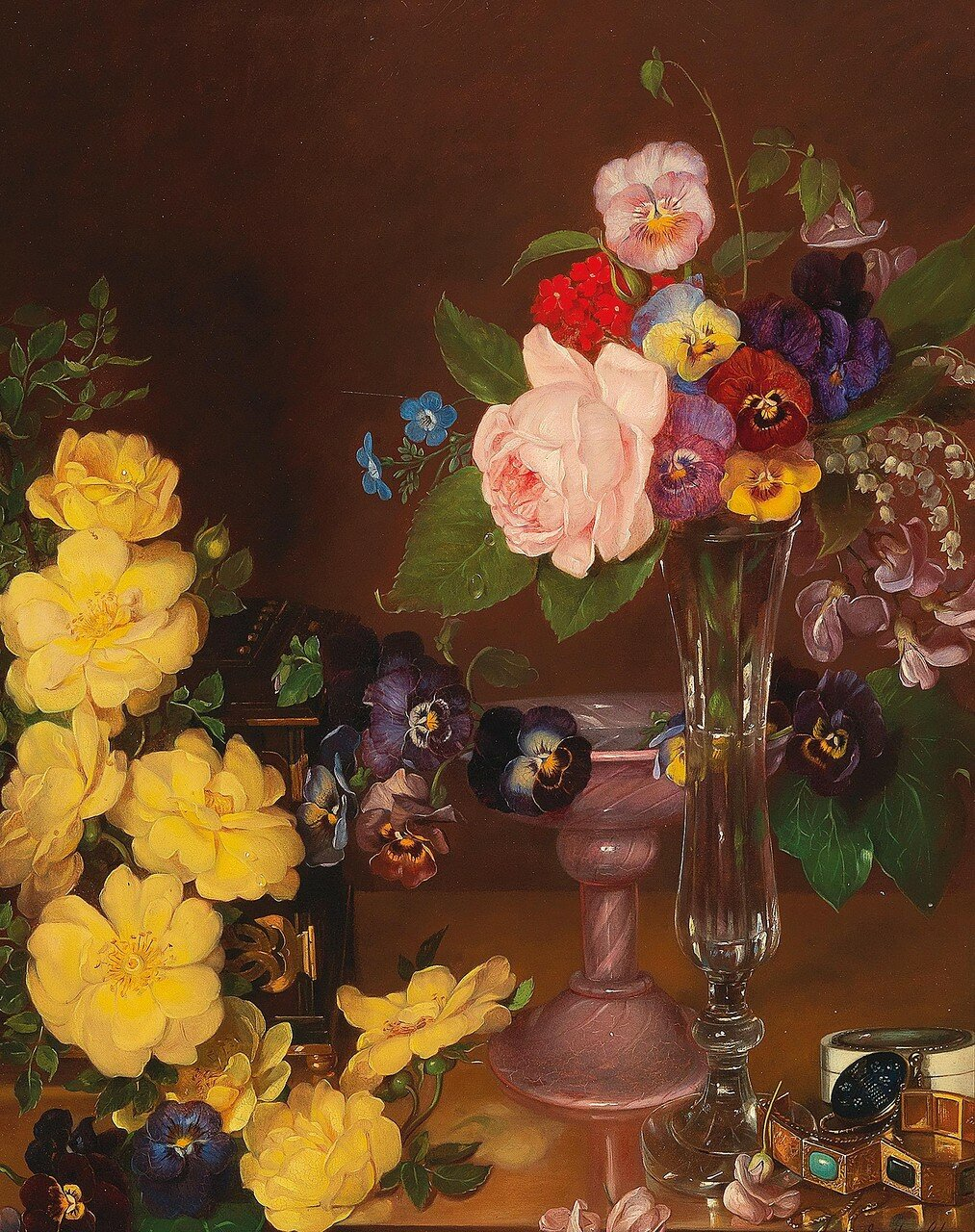 Emily Schmaeck-Stregen(London 1817-1886 Mödling) Still Life with Pansies and Roses, signed, dated Emily Schmäck (18)57