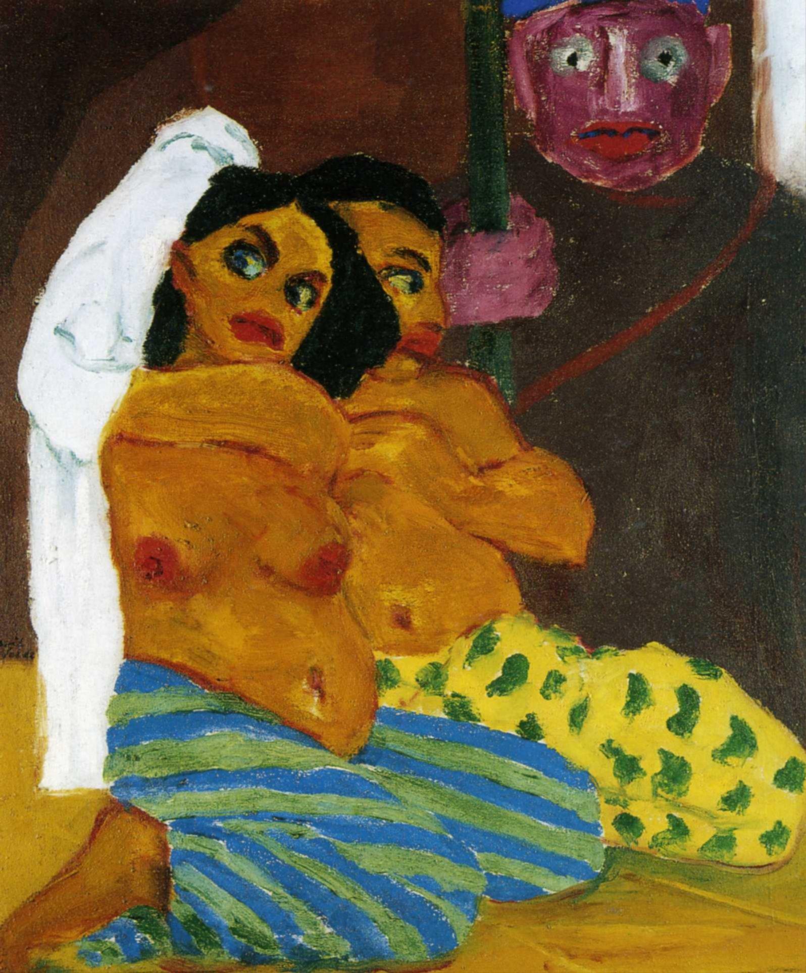 Эмиль Нольде (1867 — 1956) — один из ведущих немецких художников-экспрессионистов, считается одним из величайших акварелистов XX века. 1912. «Обнаженные и евнух»