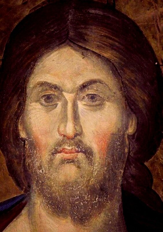 Лик Спасителя. Фреска монастыря Пантократор на Святой Горе Афон. 1363 год.