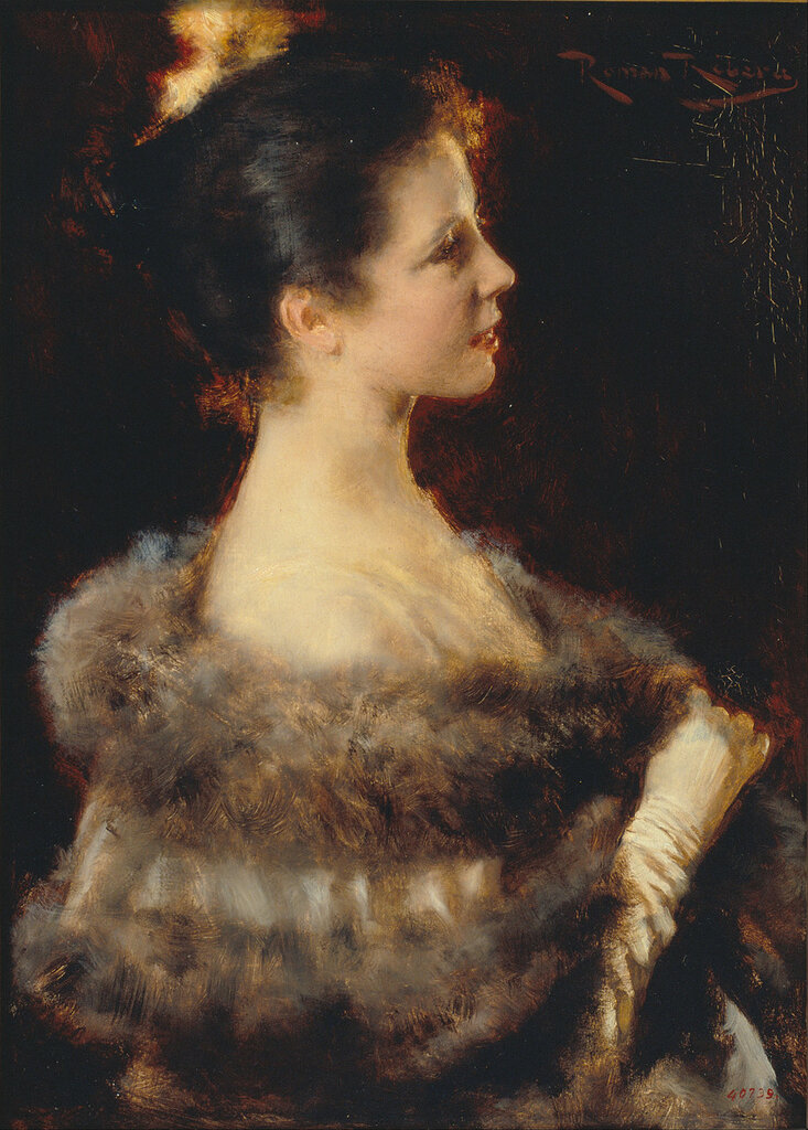 Ribera Cirera, Roma - Женщина в вечернем платье, 1893, 40 cm x 29 cm, Дерево, масло.jpg