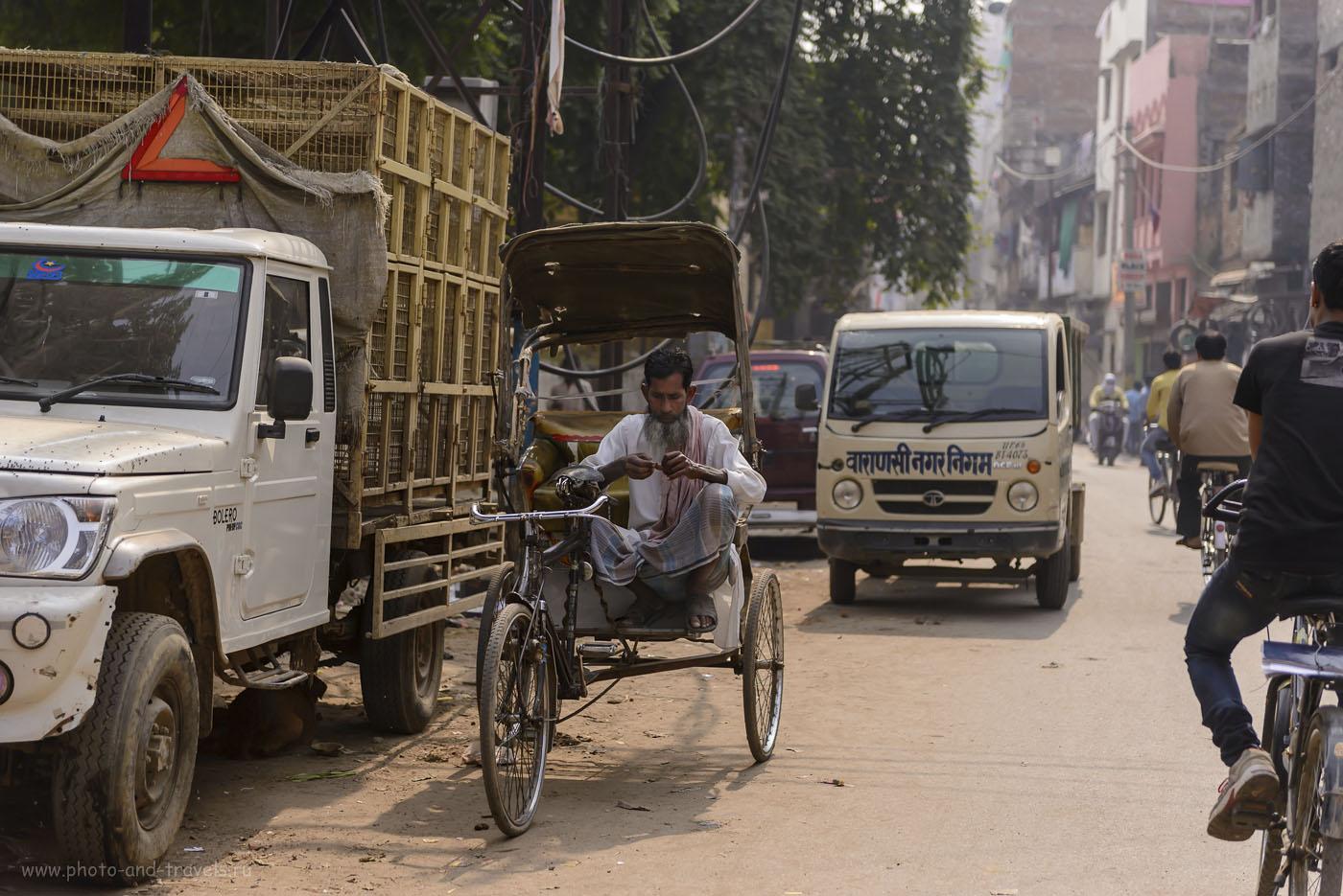 Фото 26. Старик Хоттабыч подрабатывает велорикшей в Варанаси. Отчеты о путешествии по Индии самостоятельно. 1/2500,2.8,250, 70.