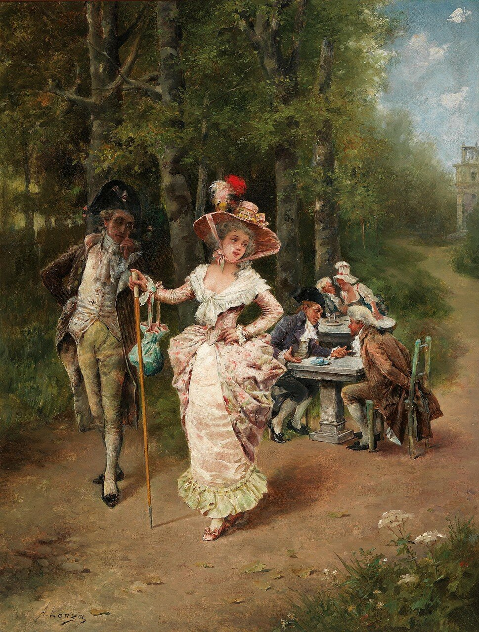 Antonio Lonza(Trieste 1846–1918) Courtiers in the Country