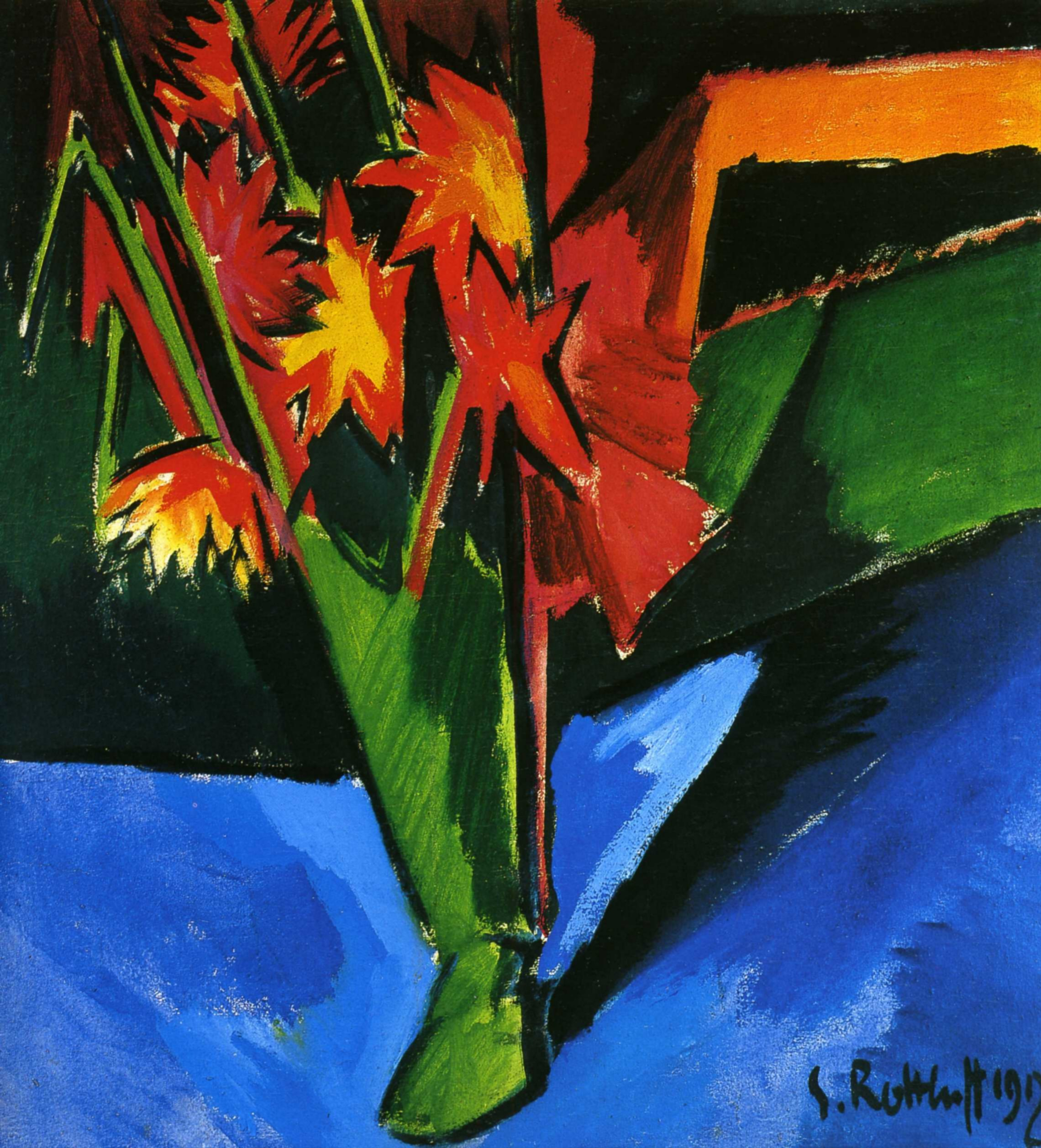 Карл Шмидт-Ротлуф (1884 — 1976) — немецкий художник-экспрессионист, один из теоретиков модернизма в живописи. 1912. «Ваза с георгинами»