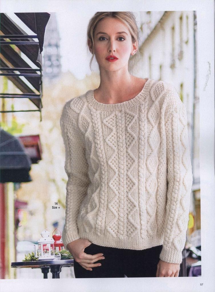 Пуловер на спицах женский со схемами вязания