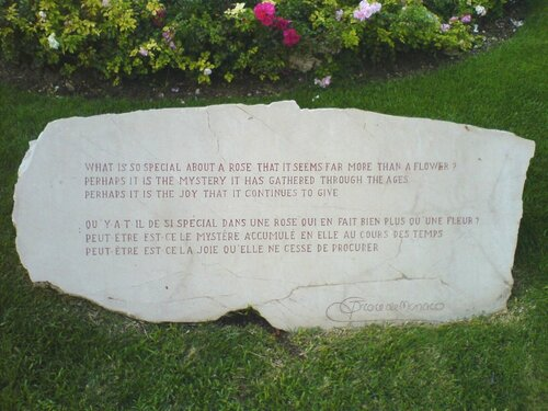 Quote of Princess Grace in Rose Garden, 2007