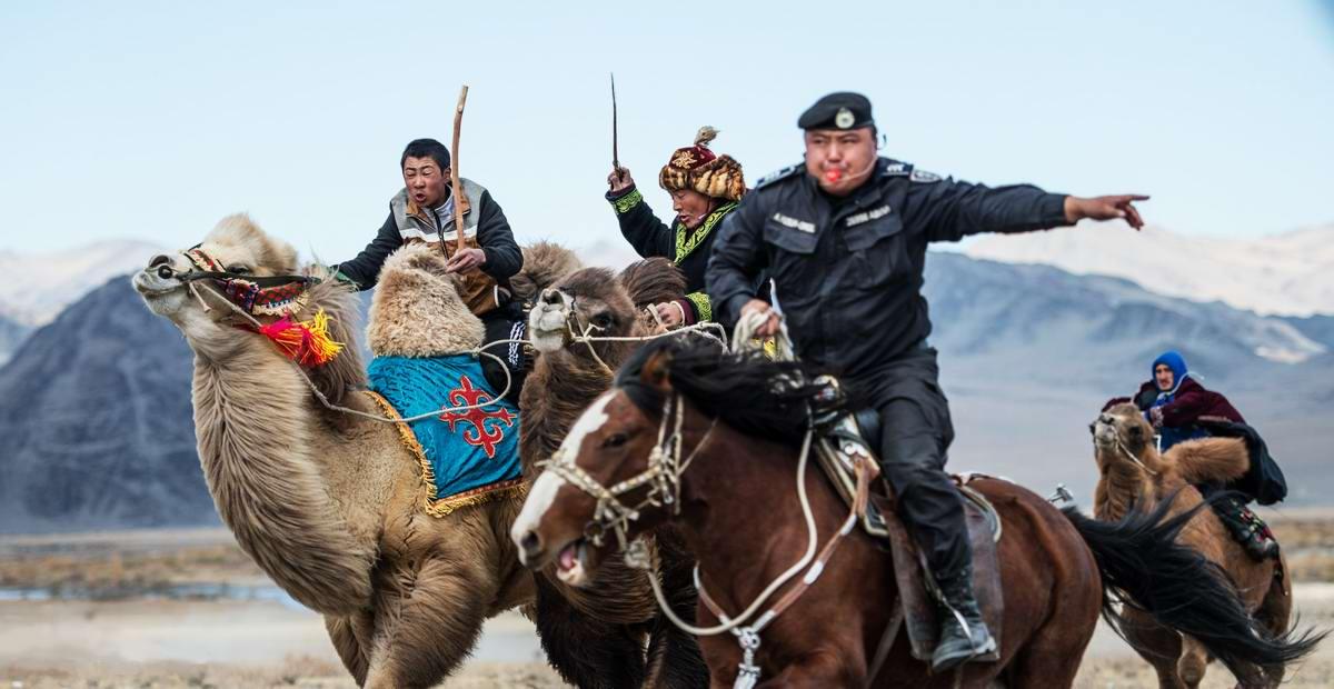 Водители верблюдов и моногольский инспектор доророжного движения