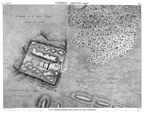 Дворец Рамсеса III в Мединет-Абу, карта местности из Египетского атласа Наполеона