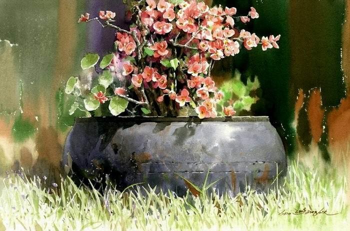 Южно-корейский аква5a8релист Shin Jong Sik. Цветы и пейзажи