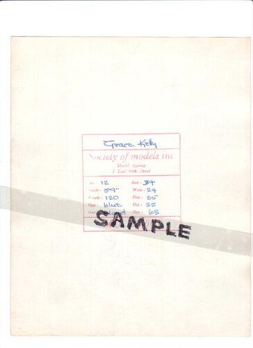 Grace Kelly карточка в модельном агенстве (обратная сторона)