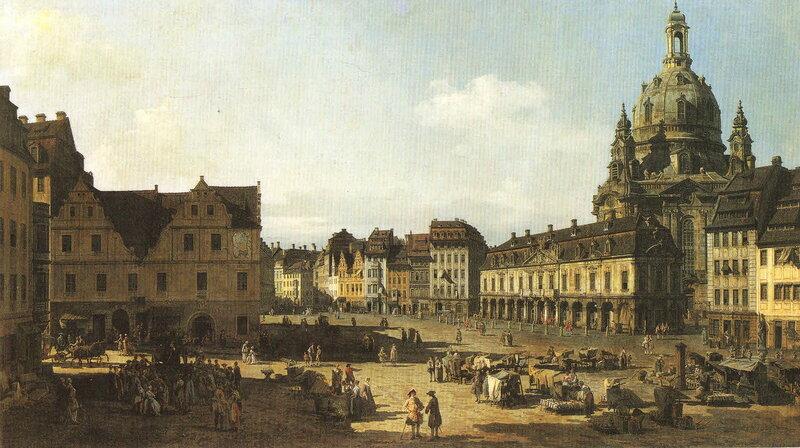 Новая Рыночная площадь, вид с улицы Моритцштрассе, 1751 год