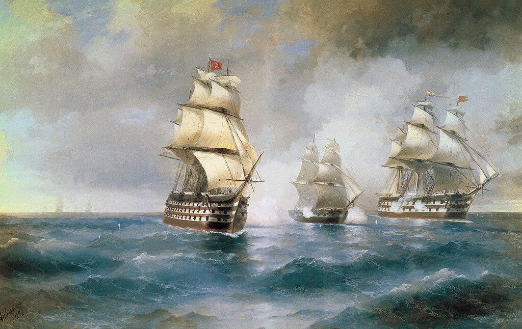 Бриг Меркурий, атакованный двумя турецкими кораблями. 1892. Холст, масло.jpg