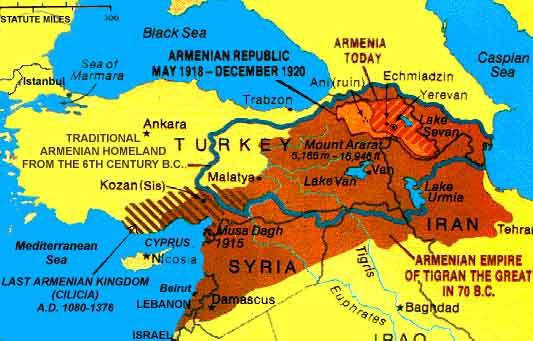 карта с границами Армении в разные годы